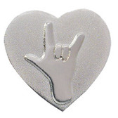 I LOVE YOU w/heart  Pin (shinny silver)