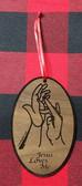 Oval Sign Language (Jesus Loves Me) Ornaments  (Walnut Wood)