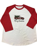 T-SHIRT MERRY CHRISTMAS TRUCK WITH SIGN HAND I LOVE YOU ( RED/WHITE) BASEBALL SHIRT 3/4 (Adult Size)