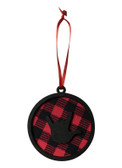 Christmas Ornaments Sign Language Hand with Circle Birchwood Black/Red Buffalo Plain