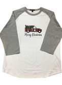 T-SHIRT MERRY CHRISTMAS TRUCK WITH SIGN HAND I LOVE YOU ( GREY/WHITE) BASEBALL SHIRT 3/4 (YOUTH SIZE)