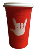 Coffee Travel Cup 16 oz with Sign Language I LOVE YOU (Red)