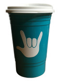 COFFEE TRAVEL CUP 16 OZ WITH SIGN LANGUAGE I LOVE YOU (Teal)
