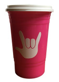 COFFEE TRAVEL CUP 16 OZ WITH SIGN LANGUAGE I LOVE YOU (Pink)