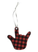 I LOVE YOU HAND SHAPE Ornaments (Red & Black Buffalo Plain)