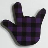 I LOVE YOU HAND SHAPE MAGNET (Purple & Black Buffalo Plain)