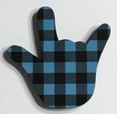 I LOVE YOU HAND SHAPE MAGNET (Teal & Black Buffalo Plain)