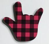 I LOVE YOU HAND SHAPE MAGNET (Pink  & Black Buffalo Plain)