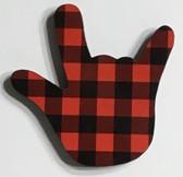 I LOVE YOU HAND SHAPE MAGNET (Red & Black Buffalo Plain)