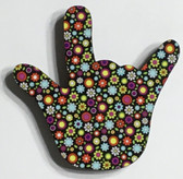 I LOVE YOU HAND SHAPE MAGNET (Colorful Flowers)
