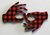 Hand Shape Sign Language INTERPRETER   (RED & BLACK BUFFALO PLAIN) MAGNET