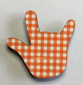 Hand Shape Sign Language I LOVE YOU HAND  (ORANGE & WHITE BUFFALO PLAIN)) MAGNET,