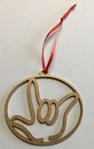 Circle with Outline  Sign Language I LOVE YOU Ornament (GOLD)
