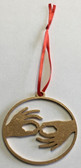 Circle with Outline  Sign Language INTERPRETER Ornament (GOLD)