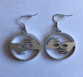 Circle with  Sign Language INTERPRETER  (SILVER) EARRINGS