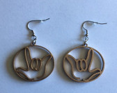 Circle Outline with  Sign Language I LOVE YOU HAND  (GOLD) EARRINGS