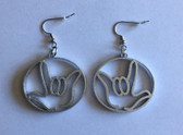 Circle Outline with  Sign Language I LOVE YOU HAND  (SILVER) EARRINGS