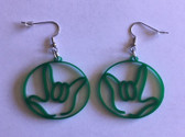 Circle Outline with  Sign Language I LOVE YOU HAND  (GREEN) EARRINGS