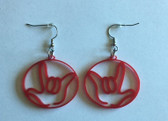 Circle Outline with  Sign Language I LOVE YOU HAND  (RED) EARRINGS