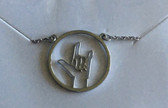 Necklace Circle Outline with Sign Language I LOVE YOU (SILVER) TINY