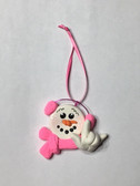 "SNOWMAN CHRISTMAS ORNAMENTS SIGN HAND "" I LOVE YOU "" (VERY LIGHT WEIGHT ) (PINK)"