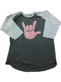 T-SHIRT MERRY CHRISTMAS SIGN HAND I LOVE YOU (BIG HAND WITH RED AND BLACK) ( GREY/BLACK) BASEBALL SHIRT 3/4 (ADULT SIZE)
