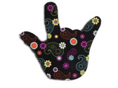 I LOVE YOU HAND SHAPE KEYCHAIN (Colorful Flowers)
