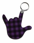 I LOVE YOU HAND SHAPE KEYCHAIN (Purple & Black Buffalo Plain)