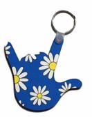 I LOVE YOU HAND SHAPE KEYCHAIN (BLUE DAISY FLOWER)