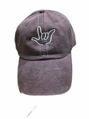 """Sign Language  Hand  Outline""""I LOVE YOU """" CAP (BLACK DYE WITH WHITE THREAD)"""