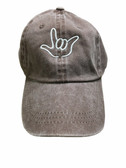 """Sign Language  Hand  Outline""""I LOVE YOU """" CAP (BROWN DYE WITH WHITE THREAD)"""
