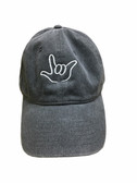 """Sign Language  Hand  Outline""""I LOVE YOU """" CAP (NAVY DYE WITH WHITE THREAD)"""