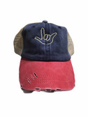 """Sign Language  Hand  Outline""""I LOVE YOU """" CAP (NAVY & RED WITH KHAKI THREAD)"""