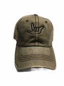 """Sign Language  Hand  Outline""""I LOVE YOU """" CAP (OLIVE & KHAKI WITH BLACK THREAD)"""