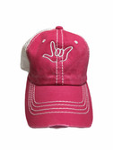 """Sign Language  Hand  Outline""""I LOVE YOU """" CAP (HOT PINK & WHITE WITH WHITE THREAD)"""