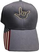 "Sign Language  Hand  Outline""I LOVE YOU "" CAP (BLUE USA WITH KHAKI THREAD)"