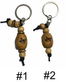 "SIGN LANGUAGE "" I LOVE YOU"" OUTLINE HAND WITH WOODEN BEAD KEYCHAIN"