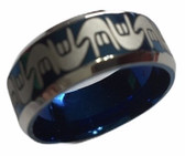 "SIGN LANGUAGE "" I LOVE YOU"" HANDS RING BAND (BLUE & SILVER)"