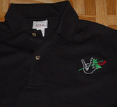"Embroidery "" I LOVE YOU "" HAND w/Rose "" BLACK ' Polo Shirt ( ADULT SIZE)"