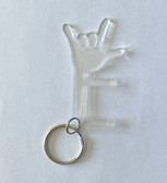NO TOUCH KEYCHAIN TOOL WITH SIGN LANGUAGE (CLEAR)