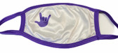 "SIGN LANGUAGE "" I LOVE YOU"" HAND  FACE MASK ( PURPLE  HAND WITH PURPLE TRIM)"