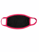 FACE MASK BLANK BLACK (HOT PINK TRIM) 100 % COTTON WITH POCKET INSERT