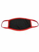 FACE MASK BLANK BLACK (RED TRIM) 100 % COTTON WITH POCKET INSERT