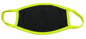 FACE MASK BLANK BLACK (YELLOW NEON TRIM) 100 % COTTON WITH POCKET INSERT