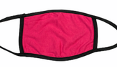 FACE MASK BLANK HOT PINK (BLACK TRIM) 100 % COTTON WITH POCKET INSERT