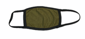 FACE MASK BLANK OLIVE (BLACK TRIM) 100 % COTTON WITH POCKET INSERT