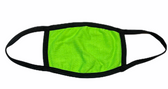 FACE MASK BLANK LIME (BLACK TRIM) 100 % COTTON WITH POCKET INSERT