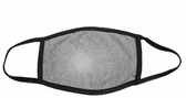 FACE MASK BLANK SPORT ASH GREY (BLACK TRIM) 100 % COTTON WITH POCKET INSERT