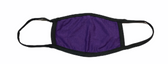 FACE MASK BLANK PURPLE (BLACK TRIM) 100 % COTTON WITH POCKET INSERT