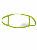 FACE MASK BLANK WHITE (LIME TRIM) 100 % COTTON WITH POCKET INSERT